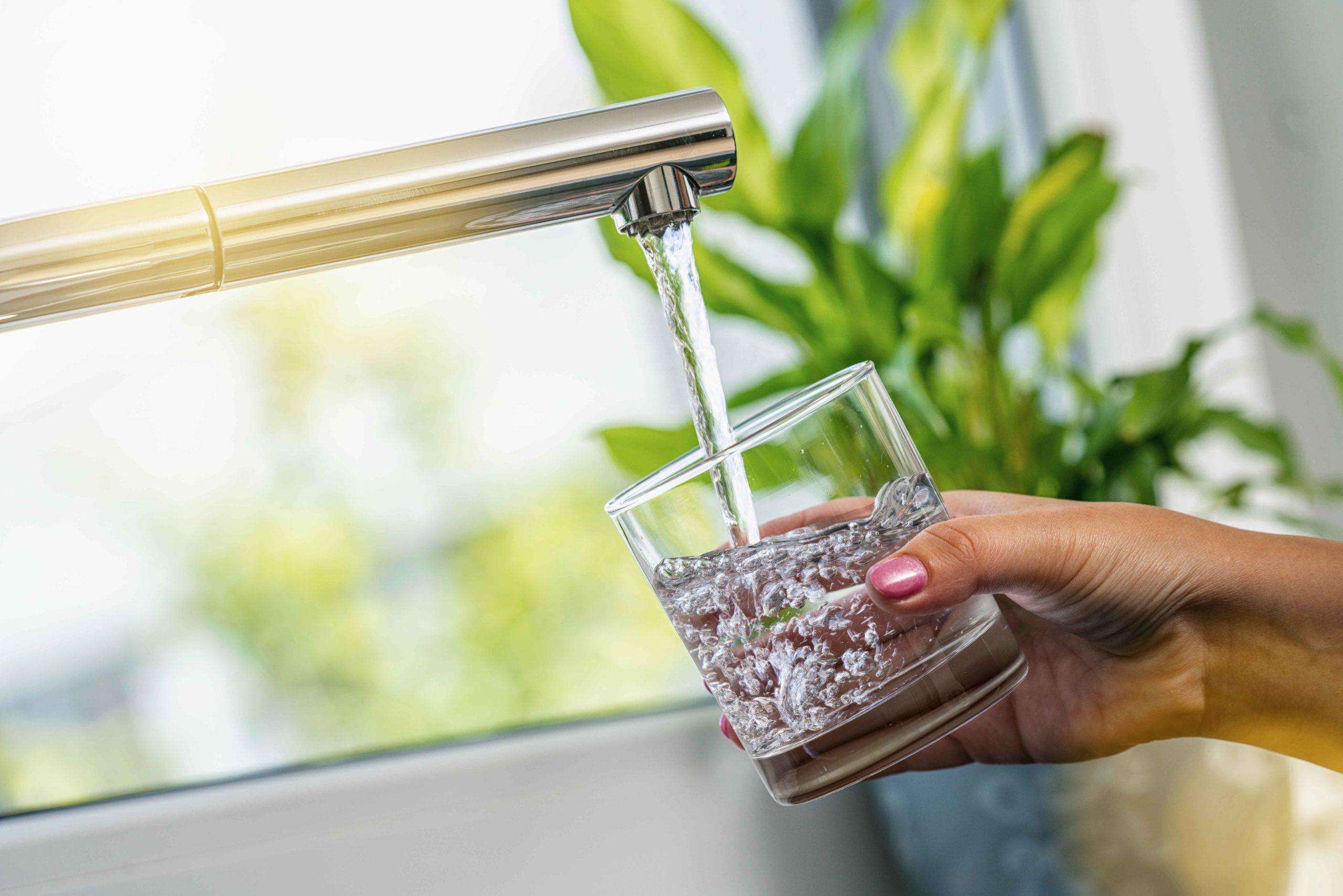 Frau Hand hält ein Glas, um es mit Wasser aus dem Hahn zu filtern